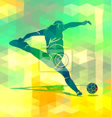 Polygonal Hintergrund mit einer Silhouette treten Fußballer. Abbildung