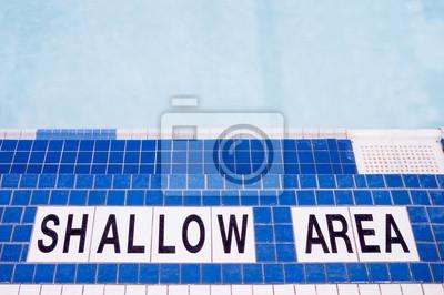 Poolside Shallow Area Sign auf Fliesen
