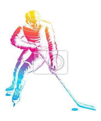 Pop-Art-Abbildung eines Eishockeyspielers