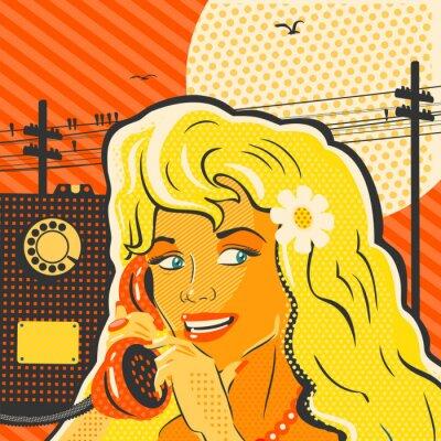 Bild Pop-Art-Art-Mädchen Mit Telefon