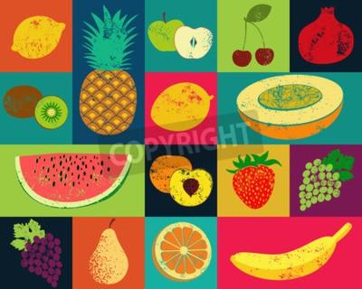 Bild Pop-Art grunge Artfruchtplakat. Sammlung von retro Früchte. Vintage vector Satz von Früchten.