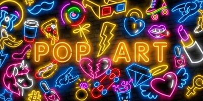 Bild Pop art icons set. Pop art neon sign. Bright signboard, light banner. Neon isolated icon, emblem. Heart, diamond, pizza, smile, hand, ice cream, star, donut and unicorn vector neon icon