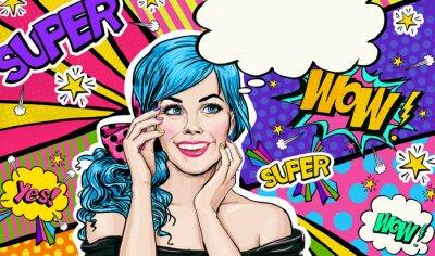 Bild Pop-Art-Illustration der blauen Kopf Mädchen auf Pop Art background.Pop Kunst Mädchen. Party Einladung. Geburtstag-Grußkarte. Werbeplakat. Komische Frau. Romantische Mädchen versteckt ihr Gesicht.
