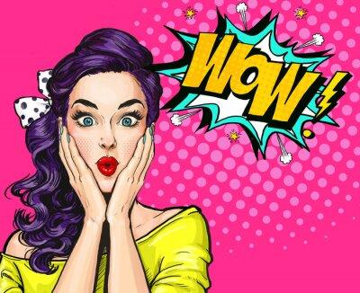 Bild Pop Art Illustration, überrascht girl.Comic Frau. Wow.Werbung Poster. Pop Art Mädchen. Party Einladung.