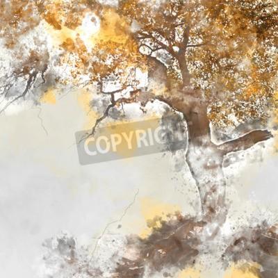 Bild Poplar tree in autumn season, watercolor background made in computer program