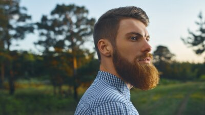Bild Portrait brutal bearded hipster man in the forest Long red beard Blue shirt Copy free space for advertising