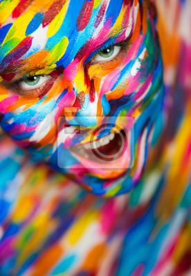 Portrait der schönen Mädchen mit hellen Kunst bunten Make-up