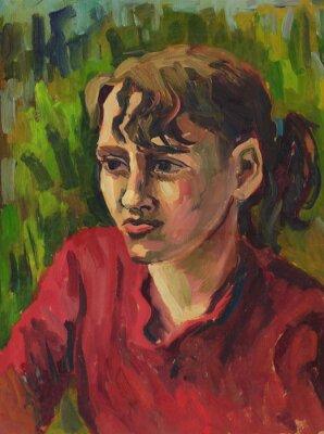 Bild Portrait eines jungen Mädchens. Ölgemälde