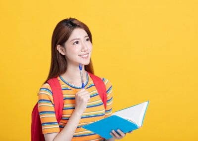 Bild Portrait of beautiful asian  student studying and thinking