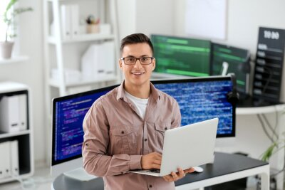 Bild Portrait of male programmer in office