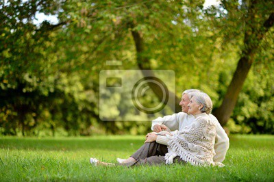 Bild Portrait of senior couple sitting in autumn park