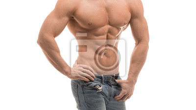 Bild Portrait of strong healthy handsome athletic man fitness model isolated on white. Perfect abs.