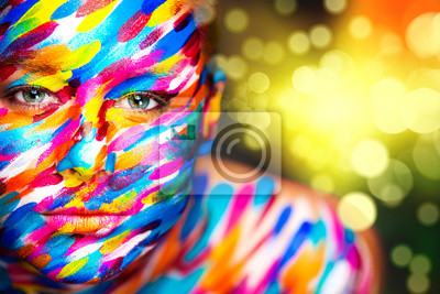 Portrait of the bright beautiful girl with art make-up