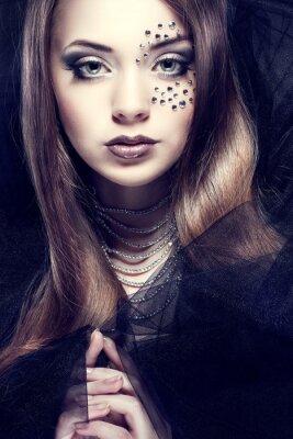 Bild Portrait von schönen Mädchen mit sexuellen strasses auf Gesicht,