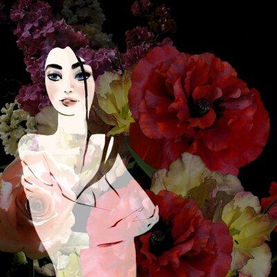 Bild Porträt der schönen Brünette auf floral background