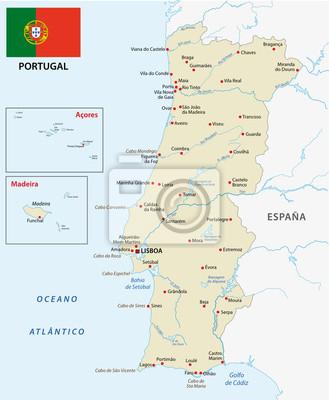 Portugal map with flag leinwandbilder • bilder Fährte, Portugiesisch ...
