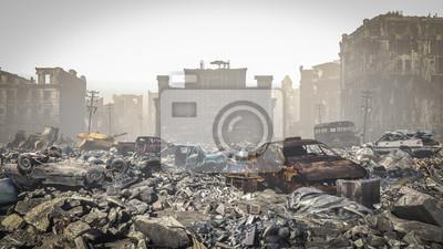 Bild post Apocalypse, Ruins of a city. Apocalyptic landscape
