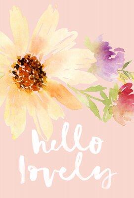 Bild Postkarte Aquarellsonnenblumen. Wedding. Blumenhintergrund.