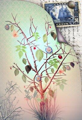 Postkarte mit Baum des Frühlings und Stempel