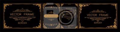 Bild Pr Set der Goldgrenze und der Rahmenschablone mit der Ecke Thailand-Linie mit Blumen für Bild, thailändische Kunstart des Vektordesigndekorationsmusters Rahmenrahmenentwurf ist Muster