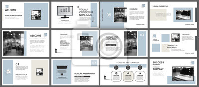 Bild Presentation and slide layout template. Design blue and brown pastel geometric background. Use for business annual report, flyer, marketing, leaflet, advertising, brochure, modern style.