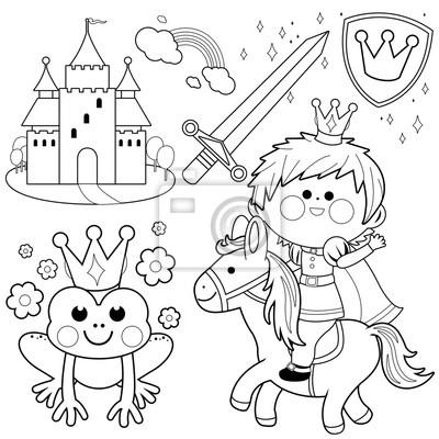 Prince reiten ein pferd märchen gesetzt. schwarz-weiß-malvorlage ...