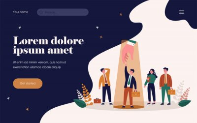 Bild Professional selection concept. Employer choosing candidate and giving hand to employee under spotlight. Vector illustration for hiring, human resource, talent search, competition topics