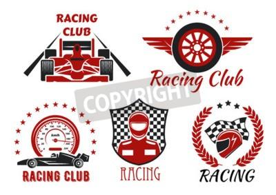 Bild Racing Club und Motorsport Wettbewerbe Symbole mit offenen Rad Rennwagen, Racer, Schutzhelm und geflügelte Rad, von Tachometer, Rennflagge, kariertes Schild, Lorbeerkranz und Sterne gerahmt