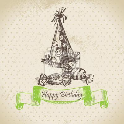 Radkappe und Süßigkeiten. Alles Gute zum Geburtstag Hand gezeichnete Illustration
