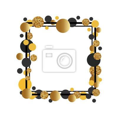 Bild Rahmen mit goldenen Punkten für Text. Zitatvorlage.