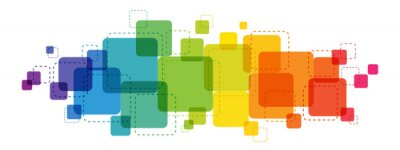 Bild Rainbow gradient colorful vector background with overlapping semi-transparent squares