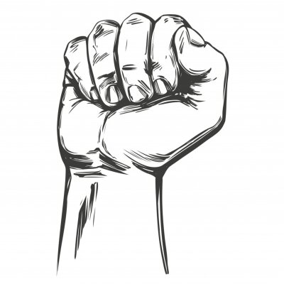 Bild Raised hand up clenched into a fist icon cartoon hand drawn vector illustration sketch