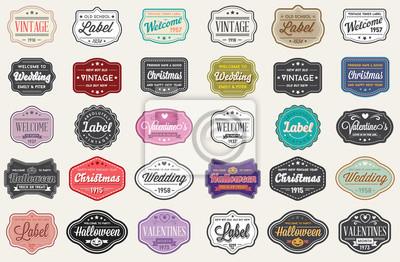 Bild Raster-Set Vintage Retro-Stil Premium-Design-Etiketten