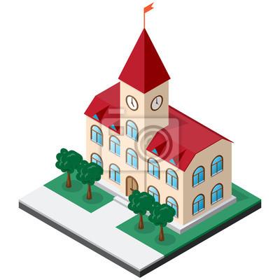 Rathaus mit Uhr auf dem Turm umgeben von Rasen mit Bäumen. Isometrische Vector für die Gestaltung von verschiedenen Anwendungen.