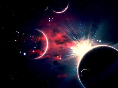 Bild Raum-Wolken und Planeten