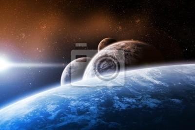 Raumgestaltung mit Planeten und Sonnenaufgang