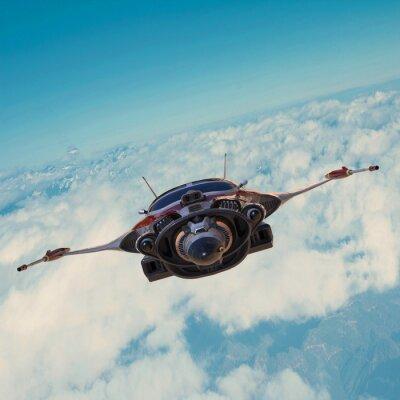 Bild Raumschiff auf blauem Himmel