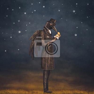 Raven in der Nacht schaut auf die Uhr, Illustration Kunst