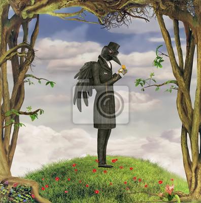 Raven in einem dunklen Wald schaut auf die Uhr