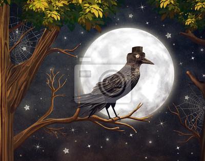 Raven in einem Mondschein in einem dunklen Wald, Illustration Kunst