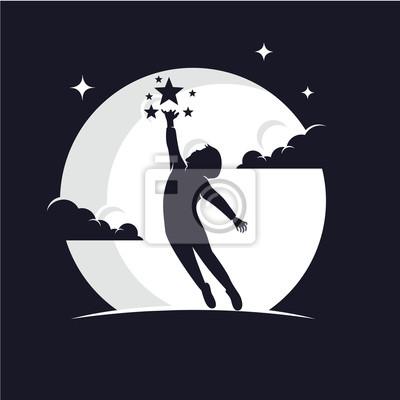 Bild Reaching Stars with Moon Background Logo Design Template