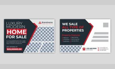 Bild Real estate  corporate business postcard or EDDM postcard design template.