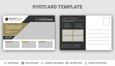 Bild Real Estate Postcard Vector Template , Modern & Elegant Postcard Template For Home Sale.
