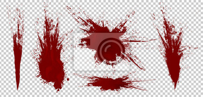 Bild Realistic Halloween blood isolated on transparent background. Blood Drops and splashes. Can be used on halloween design, medical, healthcare, flyers, banners or web. Vector blood illustration. EPS 10.