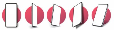 Bild Realistic layout of the smartphone in different positions. Mobile phone frame with blank display isolated templates, phone of different types and different angles. 3D/UX template vector illustration