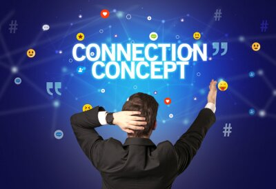 Rear view of a businessman with CONNECTION CONCEPT inscription, social networking concept