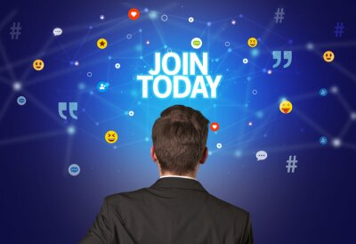 Rear view of a businessman with JOIN TODAY inscription, social networking concept