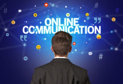 Rear view of a businessman with ONLINE COMMUNICATION inscription, social networking concept