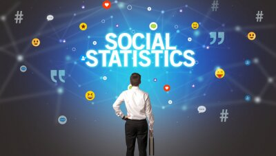 Rear view of a businessman with SOCIAL STATISTICS inscription, social networking concept