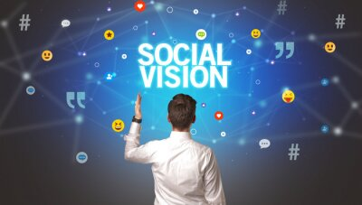 Rear view of a businessman with SOCIAL VISION inscription, social networking concept